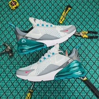 Nike Air Max 270 White/lake Blue Running Shoes - Best Online Sale