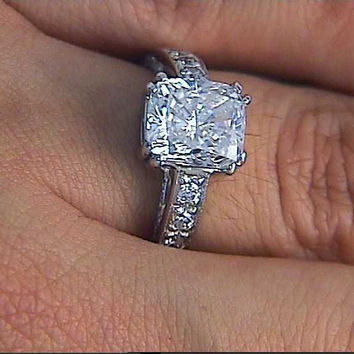 4.55ct Cushion Diamond Engagement ring GIA certified Anniversary Bridal Gift JEWELFORME BLUE