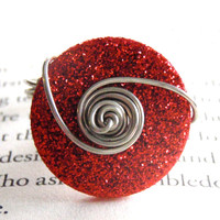 Red Glitter Button Wire Wrapped Ring