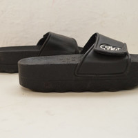 RARE Total 90s Black +  White  Platform Shower Sandals  Slippers • Chunky  Jelly • Slip on Backless  • Chunky Heel / Club Kid / womens us 8
