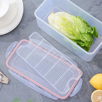Refrigerator Fresh-Keeping Shape Drainable Plastic Rectangular Box With Lid Fruit And Vegetable Box Sealed Food Storage Box Seafood Drain Box