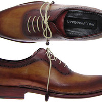 Paul Parkman Men's Lace Up Shoes - Tobacco & Bordeaux Burnished Leather Upper With Side Stitched Leather Sole