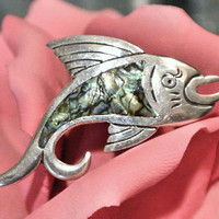Taxco Mexico Brooch Abalone Brooch Swordfish Fish Marlin Dolphin 1960s 60s Mid Century Midcentury Sterling Silver 925 Brooch Abalone Inlay