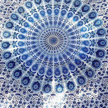 TWIN White Blue Tapestry Hippie Bohemian Mandala Wall Hanging Hippy Boho Bedding Throw Indian Bedspread Ethnic Home Decor