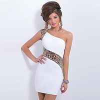 Sequins Party sexy sleeveless dresses summer mini short dress women elegant bodycon dresses white Gold sequins dress woman