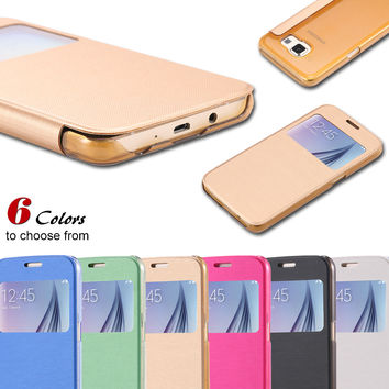 View Window PU Leather Flip Case for Galaxy S6 G9200