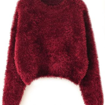 Chic Solid Crop Mohair Knit Sweater - OASAP.com