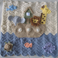 Crocheted Noah's Ark Baby Blanket, Made To Order