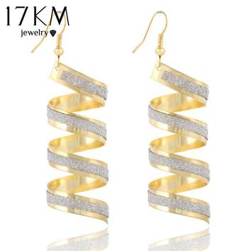 17KM New Design Hot Sales Fashion Personality Punk Classic Gold Color Big Spiral Pendant Earrings For Women Jewelry Accessories