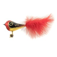 Golden Bell Collection Bird W/Feather Tail Clip-On Christmas Ornament - BR509 RED
