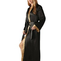 Classic Long Satin Robe with Contrast Trim, Sizes Small to 3X $39.99
