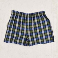 Green Large Plaid Woven Boxer- Green