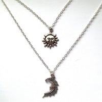 Layered Celestial Silver Sun and Moon Necklace