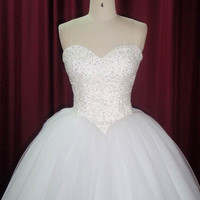 Strapless princess ballgown Wedding Dress with handmade embroidery, beading and lace up back