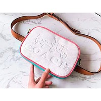 Coach hot selling embossed color shopping bag fashionable lady casual shoulder bag