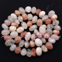 """Free shipping 5x7-7x11mm Freeform Multicolor Moonstone Gem Stone For DIY Necklace Bracelet Jewelry Making Spacer Loose Beads 15"""""""