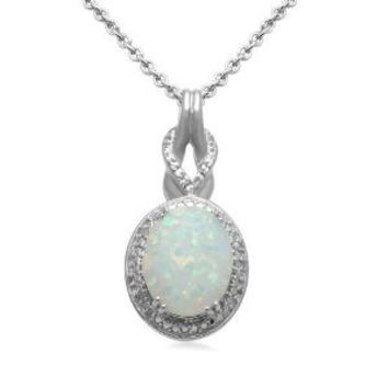 """Sterling Silver, Simulated Opal, and Diamond Pendant Necklace, 18"""""""