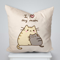 Pusheen Mothers Gift I Love Mom Square Pillow Cover, Pillow Case, Cushions Pillow Cover, Home Decor Pillow, Bed Pillow, Bedding, Housewares