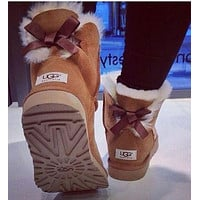 UGG Fashion Women Bow Leather Wool Snow Boots Half Shoes Boots