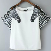 White Zebra Print Sleeves Blouse with Strappy Cut-Outs