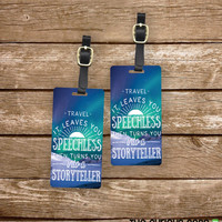 Luggage Tag Set Travel Leaves you Speechless Metal Luggage Tag Set With Custom Info On Back, 2 Tags Choice of Straps
