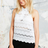 Cooperative Broidery Polo Tank in White - Urban Outfitters