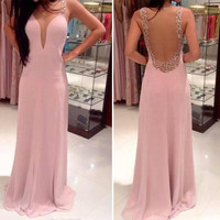 Women Backless Party Evening Prom Dress = 1946044100
