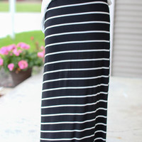 Stripe Maxi Skirt - Black