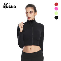 Women Autumn High Elastic Zipper Sports For Running Gym Workout Fitness Athletic Clothing Long Sleeve Yoga Shirt Tops