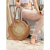 Round Woven Tote Bag