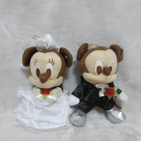 2pcs lot mikey mouse plush toy Wedding dress mickey Minnie doll lovers 24cm