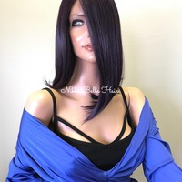 Purple Short Bob Human Hair Blend Multi Parting Lace Front Wig - Natalia 91727 ON SALE