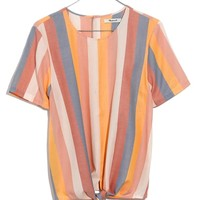 Madewell Sherbet Stripe Button Back Tie Tee | Nordstrom