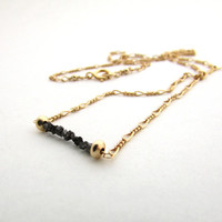 Black diamond necklace, rough diamond bar necklace, delicate necklace, raw diamond jewelry, April birthstone, wire wrap necklace