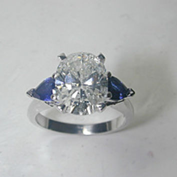 4.12ct Oval Diamond Engagement Ring 18kt White Gold and Pear shape Sapphires JEWELFORME BLUE