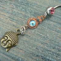 pink buddah belly ring  karma  in belly dancer indie gypsy hippie morrocan boho and hipster style