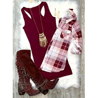 Penny Plaid Flannel Top - Burgundy/Blush