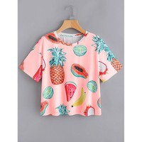 Allover Fruit Print T-shirt MULTI COLOR