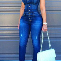 Button Closure Strapless Denim Blue Jumpsuit