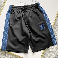 LV Fashion New Monogram Print Women Men Shorts Black