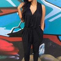 Black Sleeveless Backless Pocket Harem Jumpsuit