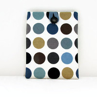 Spotty IPad case, tablet sleeve, blue gold spotty fabric cover for IPad or IPad Air, tech gift, IPad Air cover,  handmade in the UK