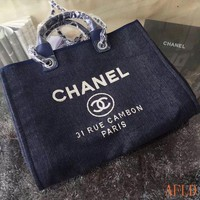 685 Fashion Canvas Embroidered Chain Tote Casual Large Shopper 37-30-18cm
