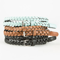 3 Pack Braided Belts Black/Mint  In Sizes