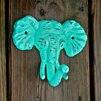 Elephant Wall Hook / Aquamarine /Shabby Chic Decor / Jewelry Holder /Nursery /Bathroom fixture /Distressed