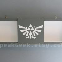 Legend of Zelda –Triforce Hylian Crest - Shadow Box Shelf - Home Decor - Cubbie Shelf - Hand Made - Hand Painted – Gray and White