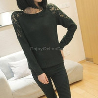 Winter Women Fashion Lace Hollow out Pullover Knitted Sweaters Tops = 1946243716