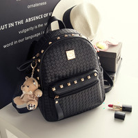 Black Studded Leather Backpack Daypack Travel Bag