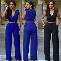 Women's Casual Jumpsuits Casual Overalls Women Backless V-neck Playsuits Rompers Woman Rompers Belted Wide Leg Jumpsuit N10317
