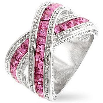 Kerstin Criss Cross Pink CZ Wide Band Ring | 4ct